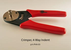 Crimper, 4-way indent for crimping pins & sockets shown above.